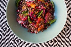 Packed full of glowing winter produce—sweet roasted beets, tart pomegranate seeds—this lentil salad makes a colorful addition to the winter table.