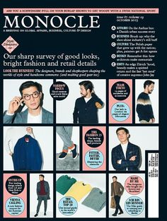 Monocle (UK) use block layout to display info, plans intersperse images of manufacturing