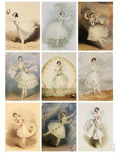 Vintage Ballerina Printable Tags or Cards by Jodie Lee Vintage Printable, Gift Tags Printable, Vintage Labels, Vintage Ephemera, Vintage Cards, Vintage Paper, Printable Art, Vintage Roses, Free Printables