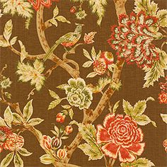 Pondicherry fabric in brown from the Thibaut Cypress collection.