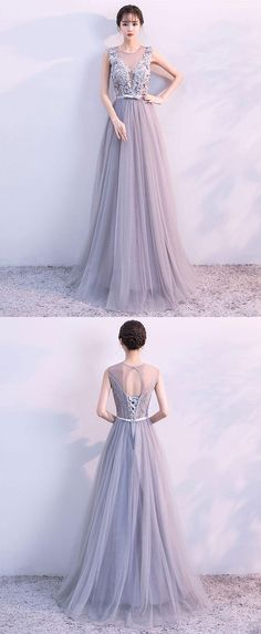 Simple Prom Dresses, Gray A line tulle lace long prom dress, lace evening dress From petite prom dress styles to plus size prom dresses, short dress to long dresses and more,all of the 2020 prom dresses styles you could possibly want! Elegant Bridesmaid Dresses, Straps Prom Dresses, Simple Prom Dress, Prom Dress Stores, Long Prom Gowns, Prom Dresses With Sleeves, Plus Size Prom Dresses, Pageant Dresses For Teens, Cheap Evening Dresses