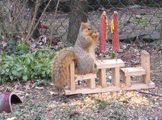 squirrel feeder made by a friend