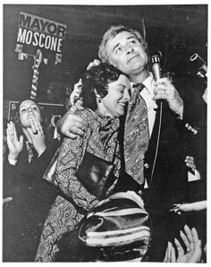 Election night, San Francisco's new mayor-elect George Moscone hugs wife Gina in triumph (1975) via San Francisco History Center, San Francisco Public Library | Photo: From 'Double Play', by Mike Weiss