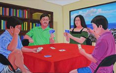Three Men and a Lady Playing Cards - acrylic on canvas