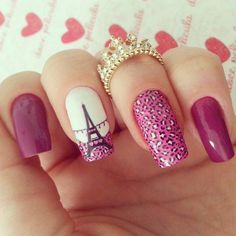 In seek out some nail designs and ideas for the nails? Here's our list of 38 must-try coffin acrylic nails for stylish women. Cute Nails, Pretty Nails, My Nails, Paris Nails, Paris Nail Art, Bridal Nail Art, Sparkle Nails, Best Acrylic Nails, Stylish Nails