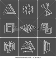 Geometric optical illusion shapes for logo or identity. Vector elements - stock vector