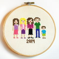 Cross stitch family portrait - great Christmas gift!