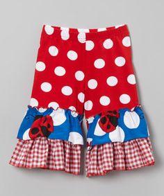 Red & Blue Polka Dot Ladybug Ruffle Pants - Toddler & Girls by Corky's Kids #zulily #zulilyfinds