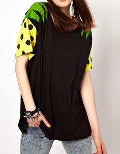 #SheInside Black Short Sleeve Pineapple Print Loose T-Shirt