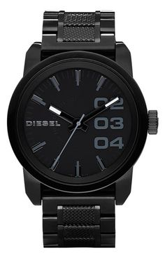 Shop for Diesel Men's Black Stainless Steel Watch. Get free delivery On EVERYTHING* Overstock - Your Online Watches Store! Black Stainless Steel, Stainless Steel Watch, Stainless Steel Bracelet, Diesel Watches For Men, Army Watches, Black Watches, Nice Watches, Black Diesel, Fashion Mode