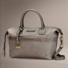 """New Frye Jenny Satchel  leather bag - gray - 10"""" height - 17"""" width - 20"""" strap drop - Removable crossbody strap - One zip and two slip interior pockets - One exterior slip pocket - Zip closure Frye Bags"""