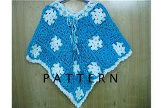 Crochet Pattern Child Granny Square Poncho  by TimeForCrochet, $3.00