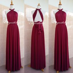 Convertible Dress Maroon Wedding Dress Bridesmaid Dress Infinity Dress Wrap Dress Evening Cocktail Party Maxi Elegant Prom Bridal Dresses by Elegantlovers on Etsy https://www.etsy.com/listing/274584232/convertible-dress-maroon-wedding-dress