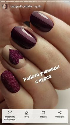 - - meals DayNail design, Valentines Day Makeup And Smoking nowadays With Valentines Day almost here, the pressure is , Maroon Nails, Purple Nails, Plum Nails, Great Nails, Cute Nails, Stylish Nails, Trendy Nails, Bridal Nails, Nagel Gel