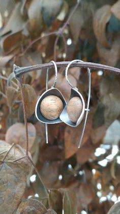 Elegant silver and wood earrings, wooden jewelry, modern design, minimalist geometric, dangle earrings, women earrings, organic shape, art deco style, 5th anniversary gift, gift for her
