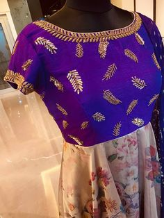 Beautiful blue and peach color combination floor length dress with leaf design hand embroidery work on yoke. Ready to shipPrice : 7500 INR.To order whatsapp 16 October 2019 Salwar Neck Designs, Saree Blouse Neck Designs, Kurta Designs Women, Bridal Blouse Designs, Party Wear Indian Dresses, Indian Gowns Dresses, Kurti Embroidery Design, Hand Embroidery, Chudidhar Designs