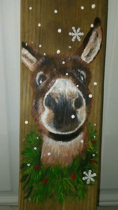 "Deena Johnson ~ Snow Christmas Donkey wood panel -5x16"" $20 plus shipping,PayPal accepted.Taking orders ,can paint like your donkey or mule."