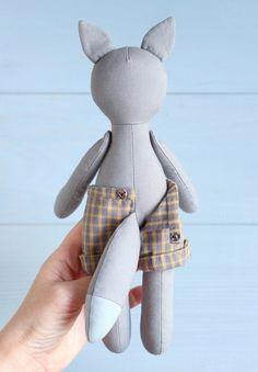 2 PDF: Fox + Wolf Sewing Pattern & Tutorial — DIY Forest Animal Stuffed Rag Doll, Soft Toy, Doll with Clothes, Woodland Themed Nursery Decor
