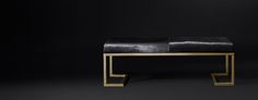 Loren Leather Hair-on-Hide Bench - Polished Brass | RH Modern