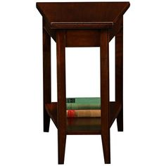 """Laurent Solid Wood Recliner Wedge Table 24"""" high. Table is 10"""" wide at the front, 17"""" wide at the back. 24"""" deep."""