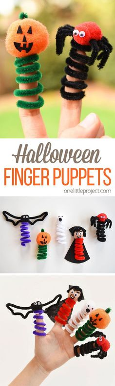 These Halloween finger puppets are so simple to make and they are SO CUTE! This is such a fun Halloween craft to make with the kids! Use pipe cleaners, pom poms and googly eyes to make any characters you want! halloween crafts for kids Halloween Finger, Fun Halloween Crafts, Halloween Activities, Fall Halloween, Holiday Crafts, Holiday Fun, Diy Projects To Try, Crafts To Make, Easy Crafts
