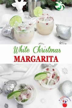 White Christmas Margarita | 2 Cookin Mamas The holidays never tasted so good! Our White Christmas Margarita has all the flavors of a standard margarita with the addition of white cranberry juice and coconut. Make it for 2 or a crowd and put a little bit of tropical in your winter cocktail. #cocktail #Christmascocktail #recipe #margarita