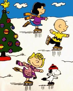 Skating with the Peanuts gang.