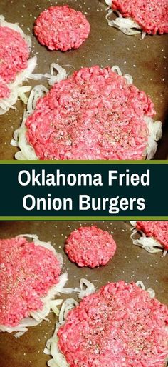 Oklahoma Fried Onion Burgers Oklahoma Fried Onion Burgers As seen on Cook's Country 1 large onion, peeled, halved and thinly sliced salt and pepper 1 lb ground beef 1 tablespoon butter 1 tablespoon vegetable oil slices American cheese Beef Dishes, Food Dishes, Main Dishes, Fried Onion Burger Recipe, Bon Dessert, Homemade Burgers, Meat Recipes, Onion Recipes, Healthy Hamburger Recipes