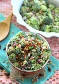 Skinny Broccoli Salad made with Greek Yogurt