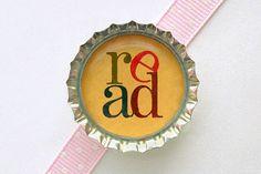 Read Bottle Cap Magnet - book lover gifts, for book lover, book club gifts, for writers, librarian gifts, for librarian, book magnets, favor on Etsy, $1.60