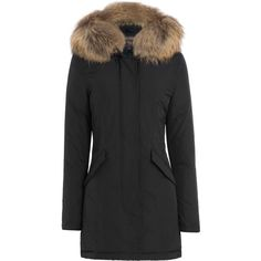 Woolrich Luxury Arctic Down Parka (570 JOD) ❤ liked on Polyvore featuring outerwear, coats, blue, blue coat, woolrich parka, slim coat, parka coat and slim fit coat