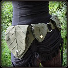 Leaf Utility Pocket belt ~ Forest Festival Belt ~ Green Brown Black Canvas ~ Unisex Men Women ~ Small to XL