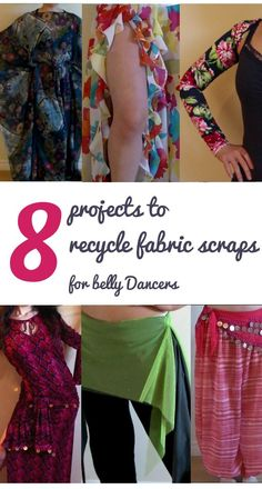 8 Projects to Recycle Fabric Scraps for Belly Dancers, organized by fabric size! Belly Dance Outfit, Tribal Belly Dance, Belly Dance Costumes, Diy Costumes, Costume Ideas, Diy Scarf, Belly Dancers, Clothing Hacks, Recycled Fabric
