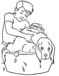 Bathing The Dog Coloring Page
