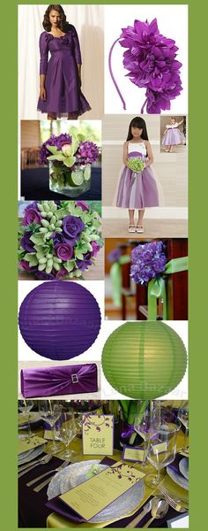 Paper lanterns are just about the exact colors!  - Green and purple wedding