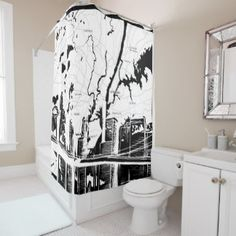 White And Black New York Map NYC Shower Curtain