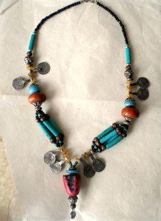 MOROCCAN Tribal Bead & Silver Coin Berber Necklace.