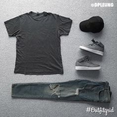 Today's top #outfitgrid is by @dpleung. ▫️#ProfoundAesthetic #Tee ▫️#FavelaClothing #Denim ▫️#NikeLab #AF1 #flatlay #flatlayapp #flatlays