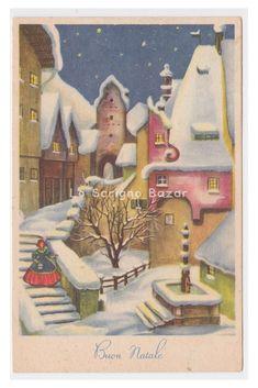 PMCE P328/7 cartolina d'epoca 1956 Natale paesaggio innevato fontana scalinata