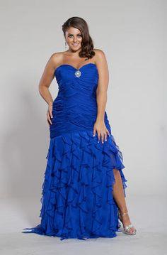 Sydney's Closet Blue Plus Size Prom Dress