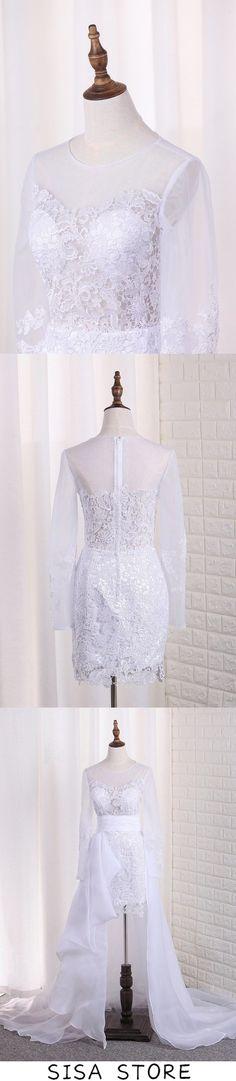 2019 Scoop Long Sleeves Wedding Dresses Tulle Chic Wedding Dresses, Long Sleeve Wedding, Tulle Dress, Sleeves, Tulle Gown, Tulle Skirt Dress, Tulle Bridesmaid Dress