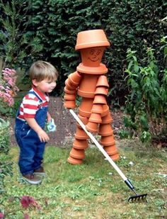 Flower pot people; repurpose clay pots into gardeners statues, child size! Yard garden art; recycle, salvage, DIY