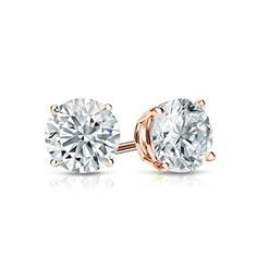 6ca0fb7b8 20 ct Round Brilliant Cut Simulated Diamond CZ Solitaire Stud Earrings in  14k Rose Gold Screw