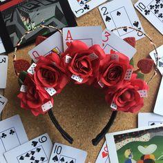 "✨The Sorcerer's Craft Shop✨ (@thesorcererscraftshop) on Instagram: ""Alice in Wonderland red card/Queen of Hearts inspired light up ears♥️♣️♦️♠️#aliceinwonderlandears…"""