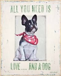 French Bulldog with Red Scarf Shabby Chic Wooden Sign Plaque for Dog Lovers