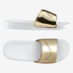 Nike Benassi Solarsoft Slide 'Liquid Metal' Gold #Nike #Slides