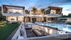 Luxury Homes Exterior, Luxury Modern Homes, Luxury Homes Dream Houses, Modern Mansion, Luxury House Plans, Dream House Exterior, Dream Homes, Design Living Room, Design Bedroom