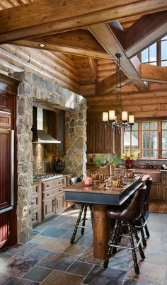 Log Home Kitchen- Haven't seen this type of stone surround for a stove. Very nice.