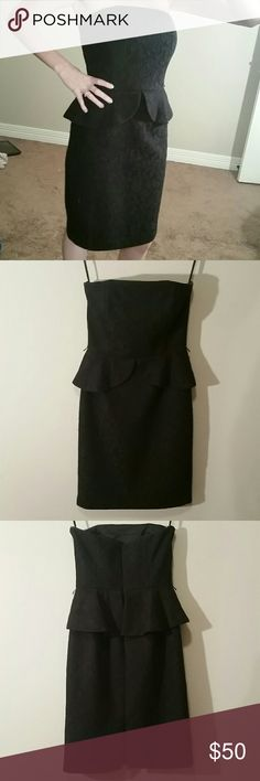Gorgeous WHBM strapless lace peplum dress Great condition,  no issues! Sexy! It is missing the belt that it has little loops for. Also has spots to attach straps,  but straps not included. White House Black Market Dresses Strapless