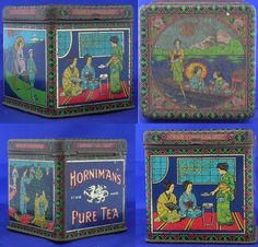 Horniman's Tea Tin, dated 1820 and featuring images of Japanese people plucking tea leaves and serving tea.